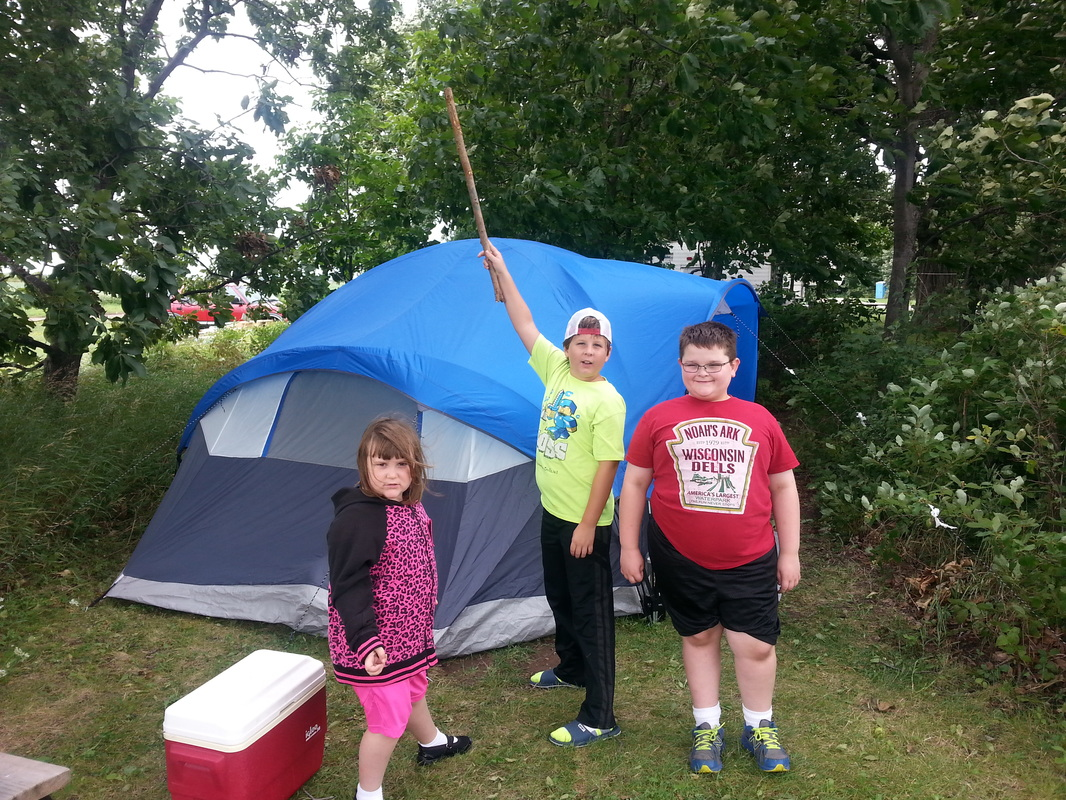 Aldi 8 person dome tent with our three heroes out front at Hickory Oaks C&ground! & Tents - Martinu0027s Site